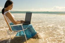 Girl Laptop Beach