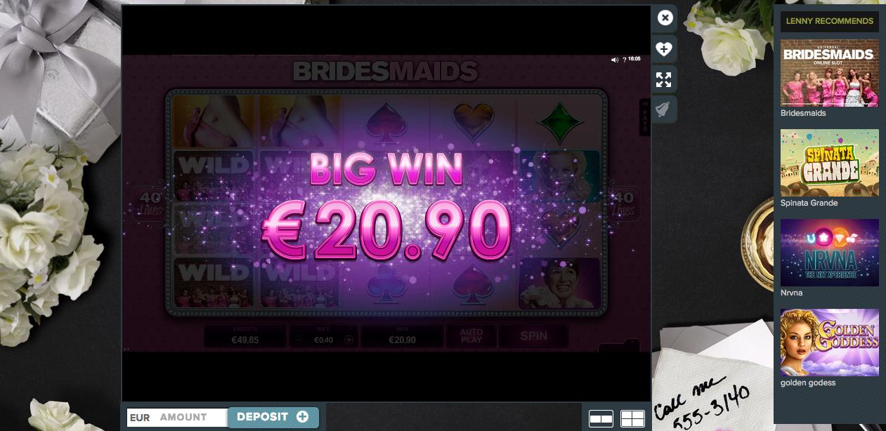 Big Win interface at Bridesmaids!