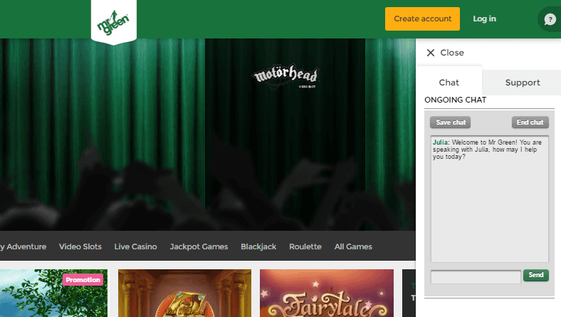 Mr Green Online Casino Customer Service