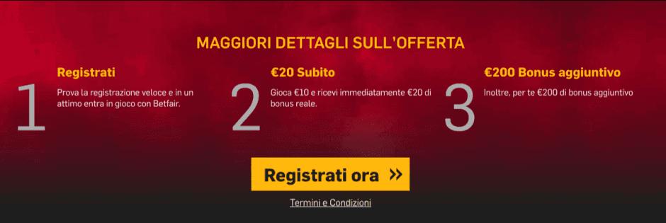Betfair Casino Codice Bonus