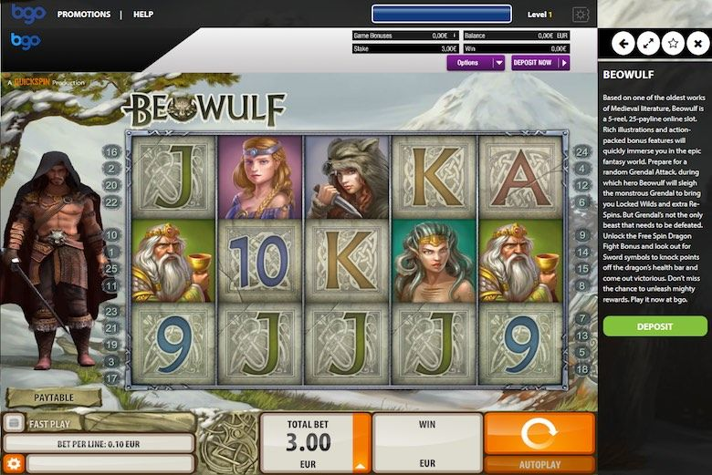 play the free 3d slots of Beowulf