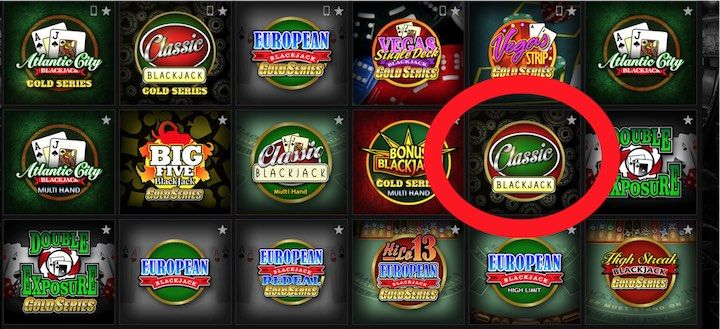Select Classic Blackjack to start your free online practice session