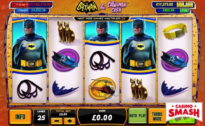 Batman Catwoman Cash free video slots game with Superheroes