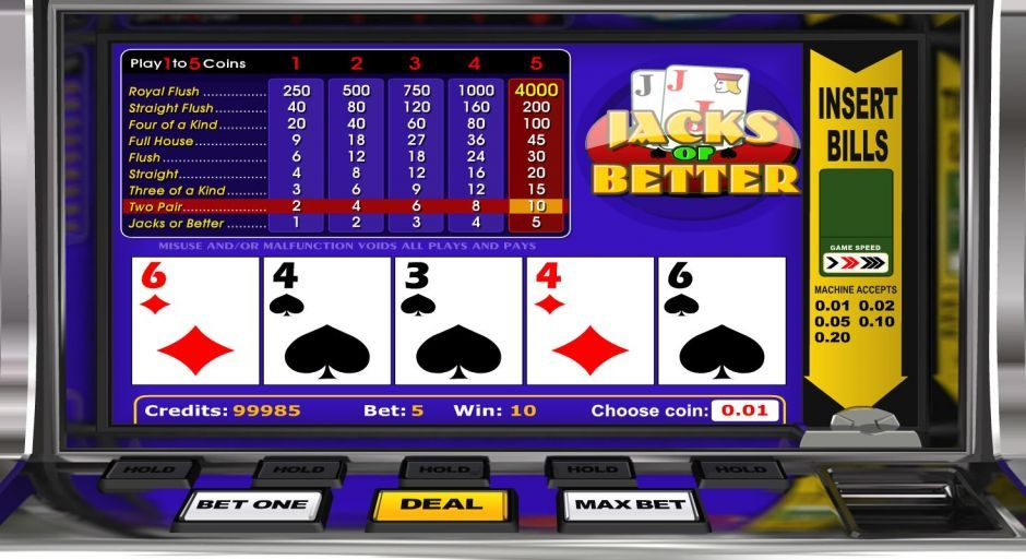 PlayAmo casino jacks or better video poker