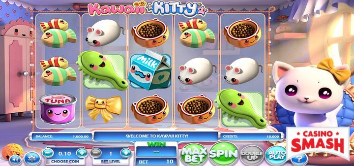 Play Kawaii Kitty Slot Machine game for free with free spins