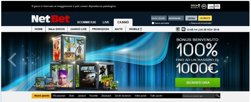 NetBet Casino - Bonus Senza Deposito da 10 Euro