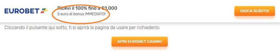 Eurobet - Come ottenere il bonus senza deposito da 10 euro