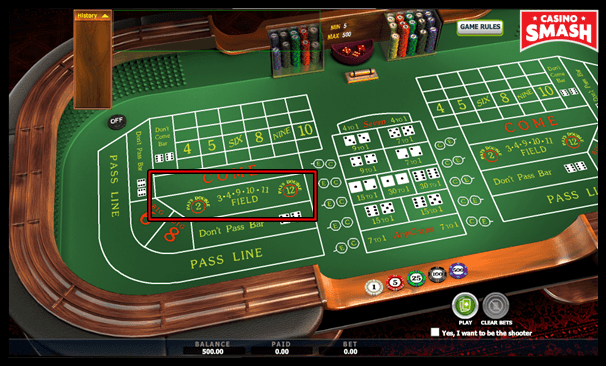 Field Bets in the Game of Craps Online