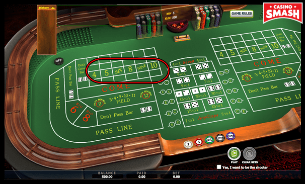 Place Bets in the Game of Craps Online