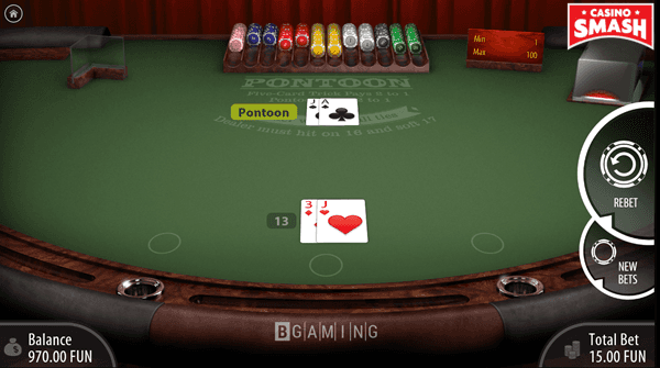 Banker Wins with a Pontoon Hand