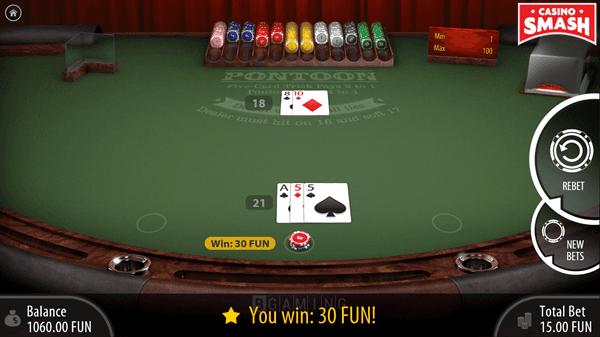 Winning Three-Card Hand Totalling 21