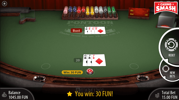 Winning Three-Card Hand Totalling 20