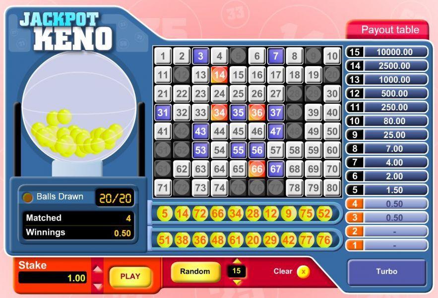 free jackpot keno