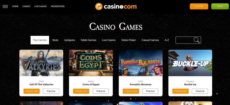 Casino.com - La lista dei giochi Playtech