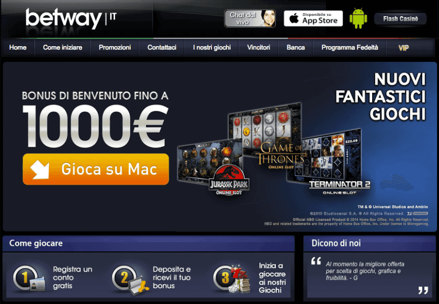 Betway - Casino Playtech