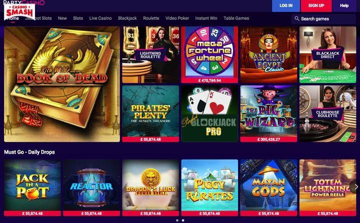 PartyCasino slots app with bonus games