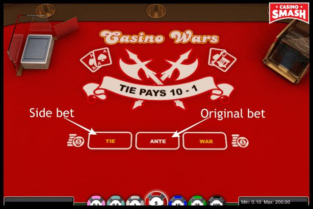 Casino War: Tie bet