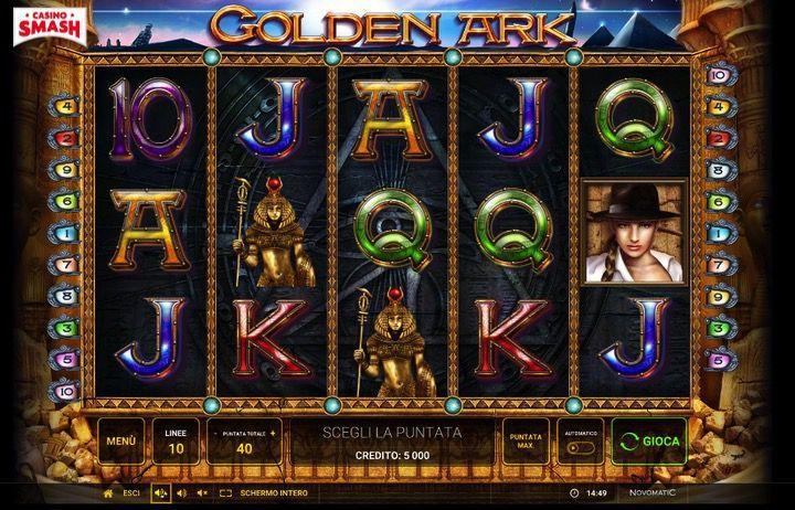 La macchinetta Golden Ark On Line è la versione Novoline / Novomatic della Slot di Tomb Raider