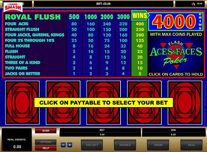Aces and faces video poker gratis on line