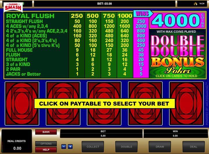 video poker macchinette da bar gratis anni 90: Double Double Bonus Poker