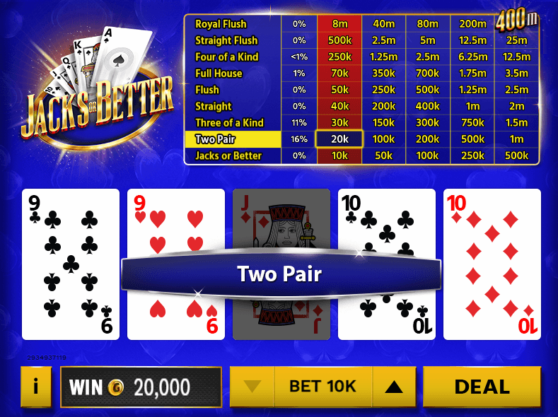 Jacks or better video poker chumba casino free play