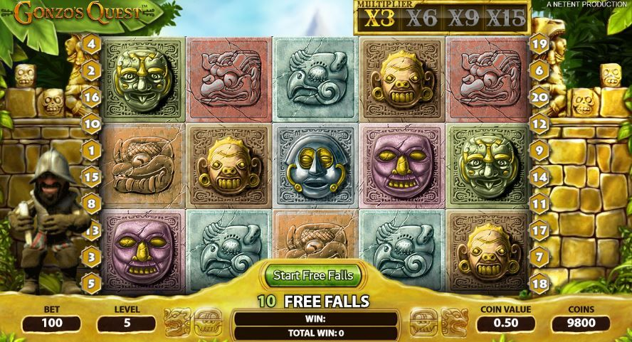 gonzos quest free falls el dorado play online