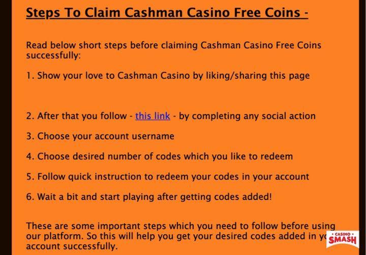 Cashman Casino Free Coins Generator