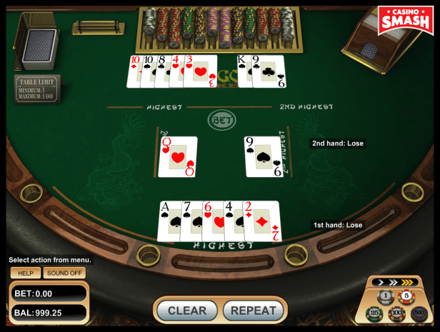 pai-gow poker strategy: no pair