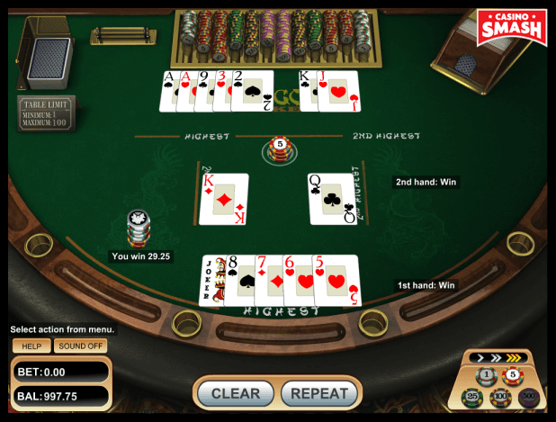 pai-gow poker strategy: straight