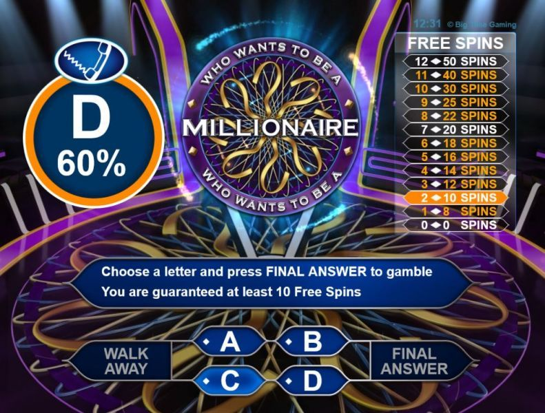 who wants to be a millionaire slot online play
