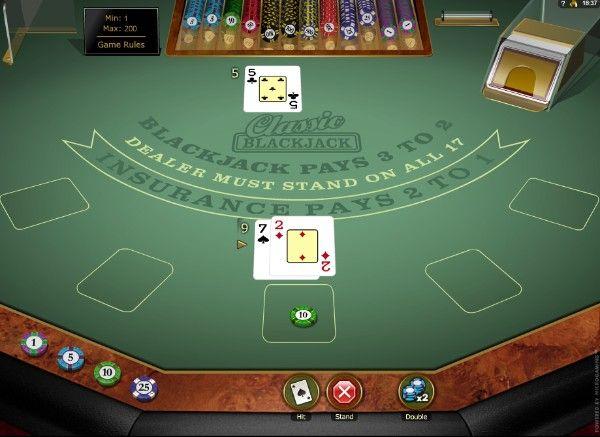 single-deck blackjack double down