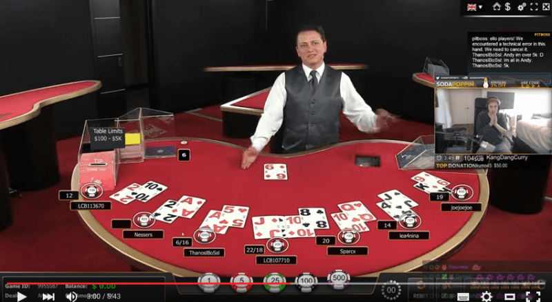 Crazy Live Blackjack Hand