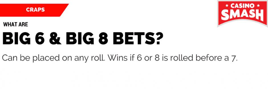 Craps Rules & Strategy: Big Six, Big Eight Bets