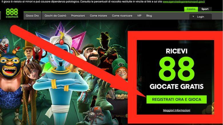 888casino on line bonus senza deposito
