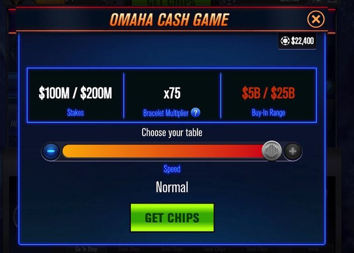 Omaha Cash Games at World Series of Poker App