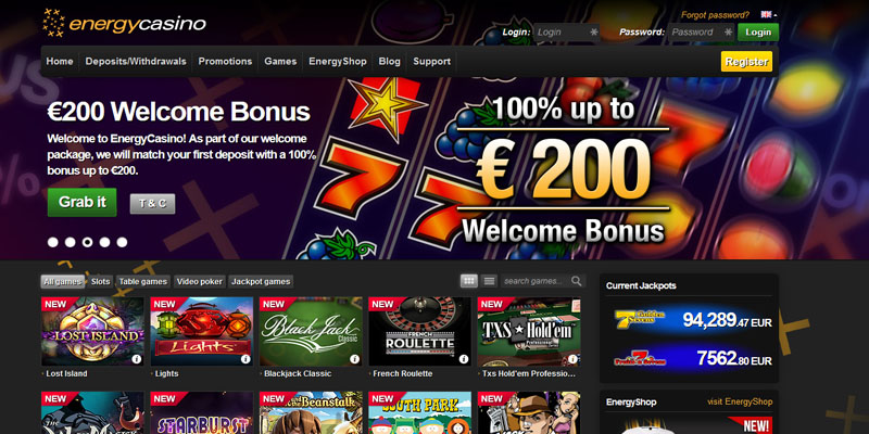 Energy Casino Bonus Code