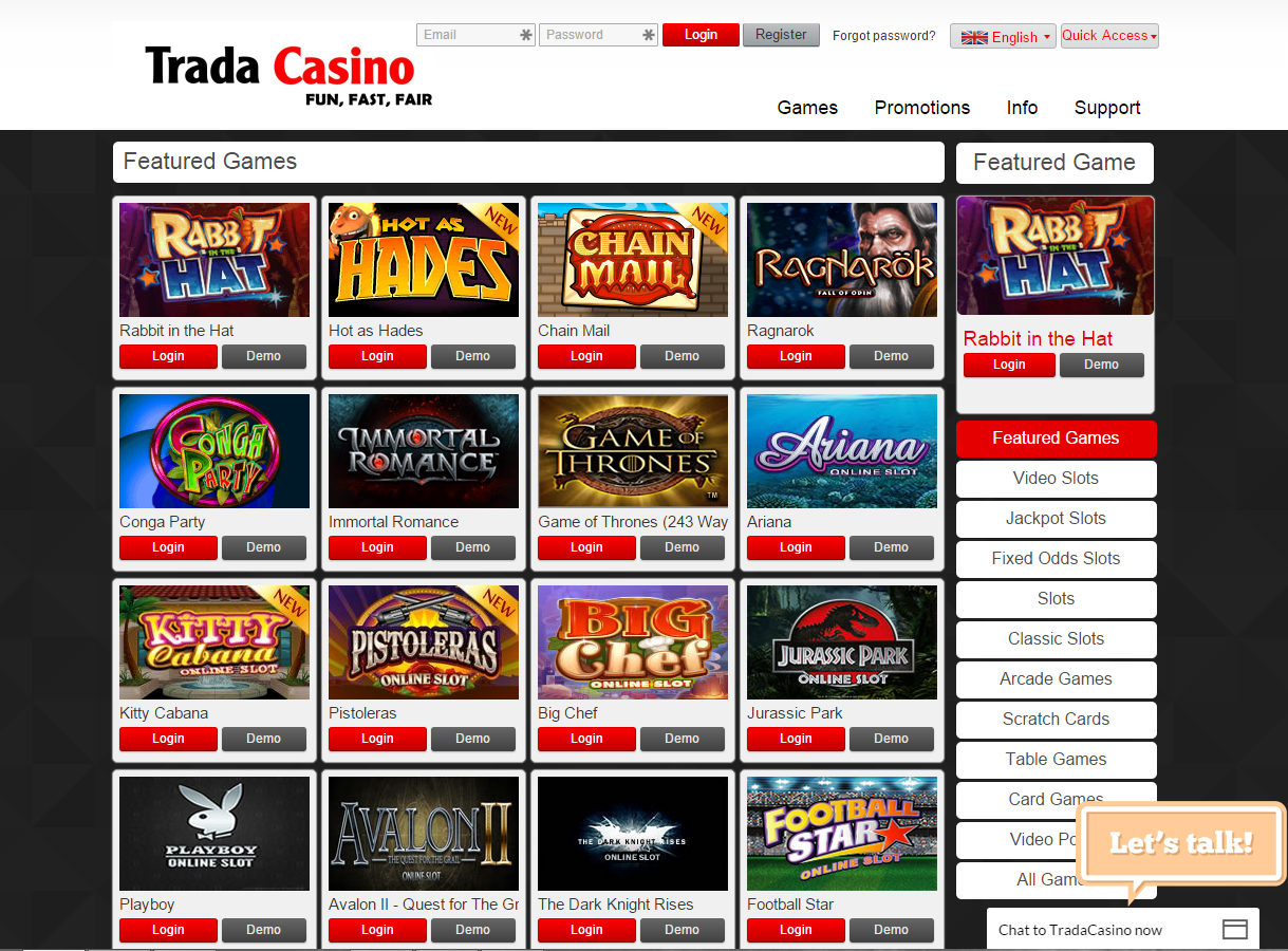 Trada Casino Bonus Code