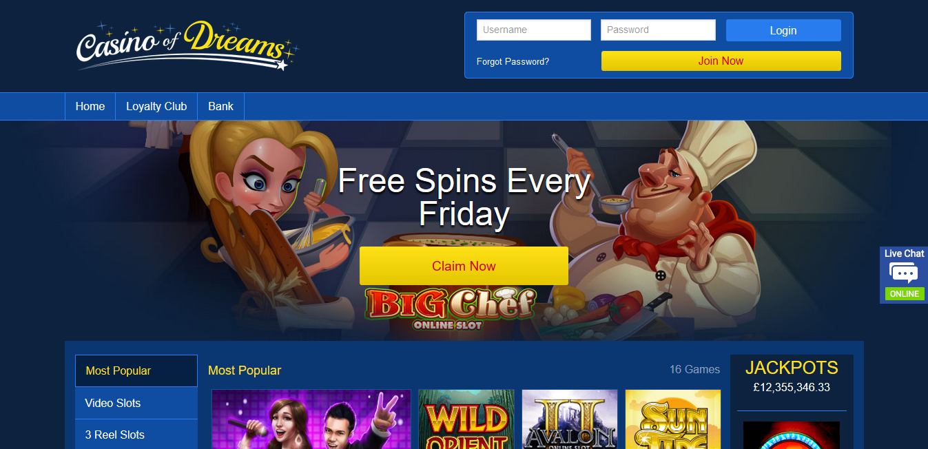 Free spins dream casino