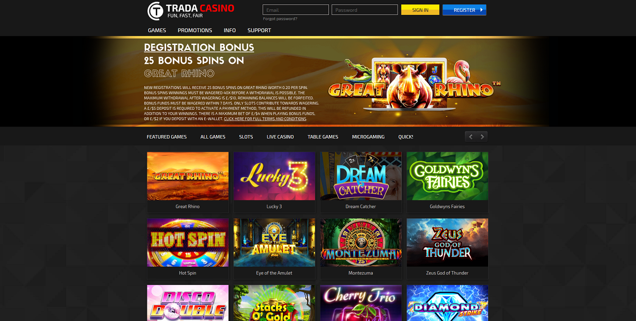 Free spins registration casino