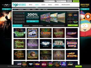 bgo casino screen of website