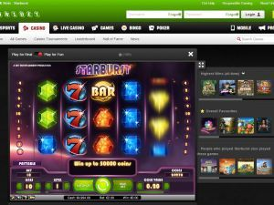 Unibet casino room screenshot