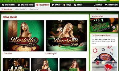 Unibet Casino offers live games.