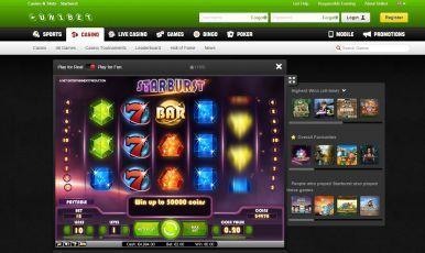 Starburst slot game on unibet.com.