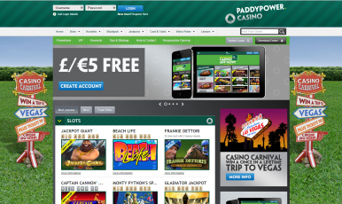 Get free 5 euros for Paddy Power Casino (only for new accounts)