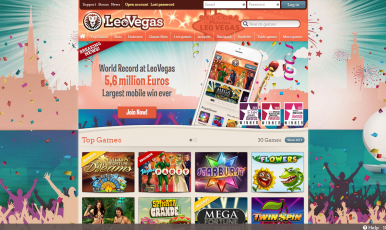 This is a screenshot of the LeoVegas.com website.