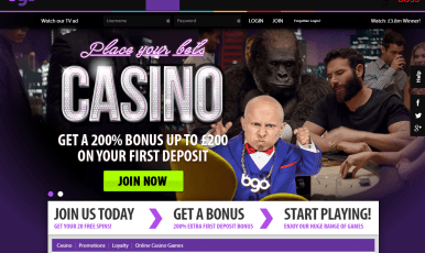 Get a 200% bonus up to 200 pounds on your first deposit at bgo casino!