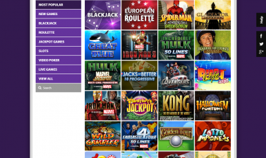 Choose most popular casino games to play.