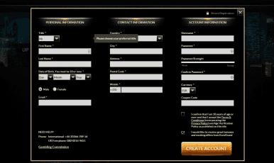Open new account at Eurogrand Casino