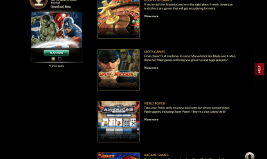 You can choose from roulette games, slots games, video poker, arcade games...