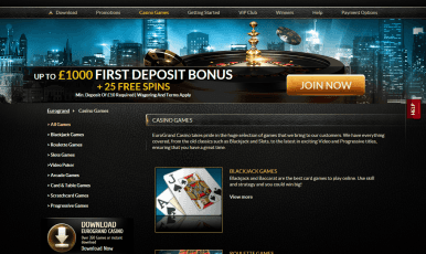 Eurogrand offers the variety of casino games